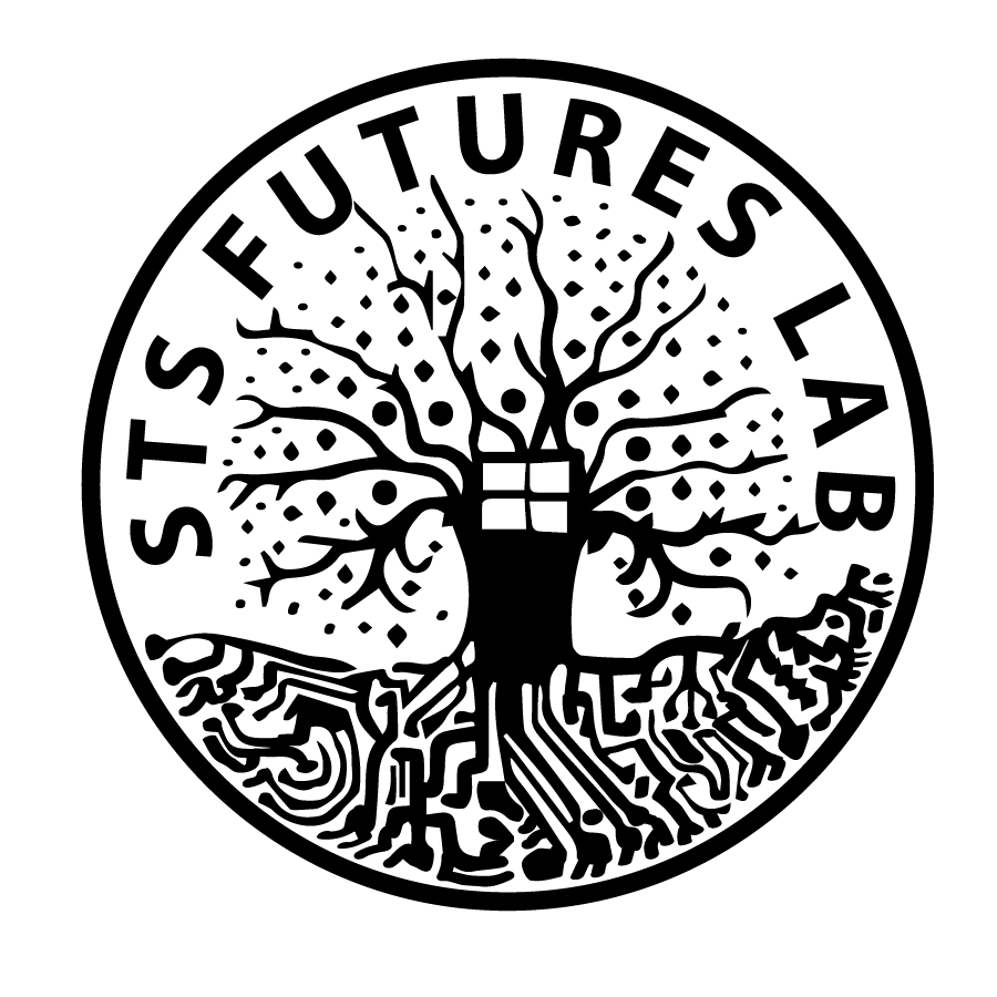 The STS Futures Lab Logo contains a tree with circuit board roots and a window in the middle