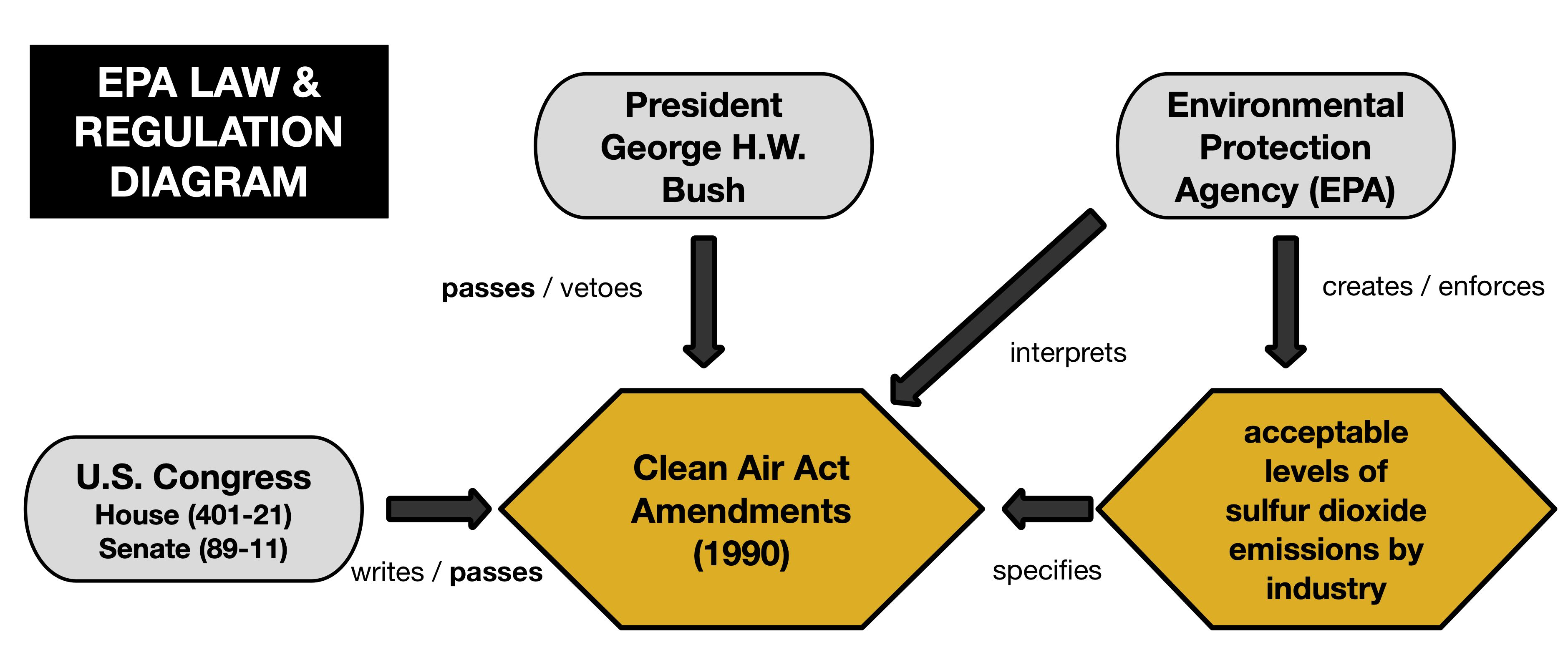 A diagram showing the relationship between branches of government, laws, and regulations