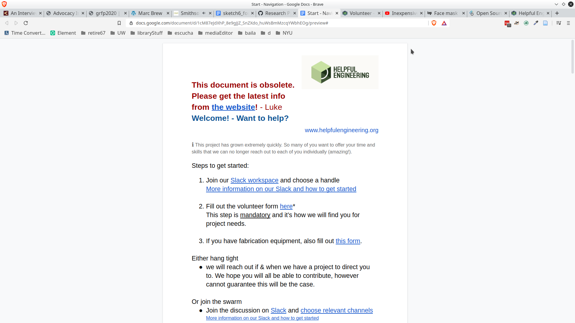 screenshot of a google doc that was the first draft of Helpful Engineers collaborative documentation