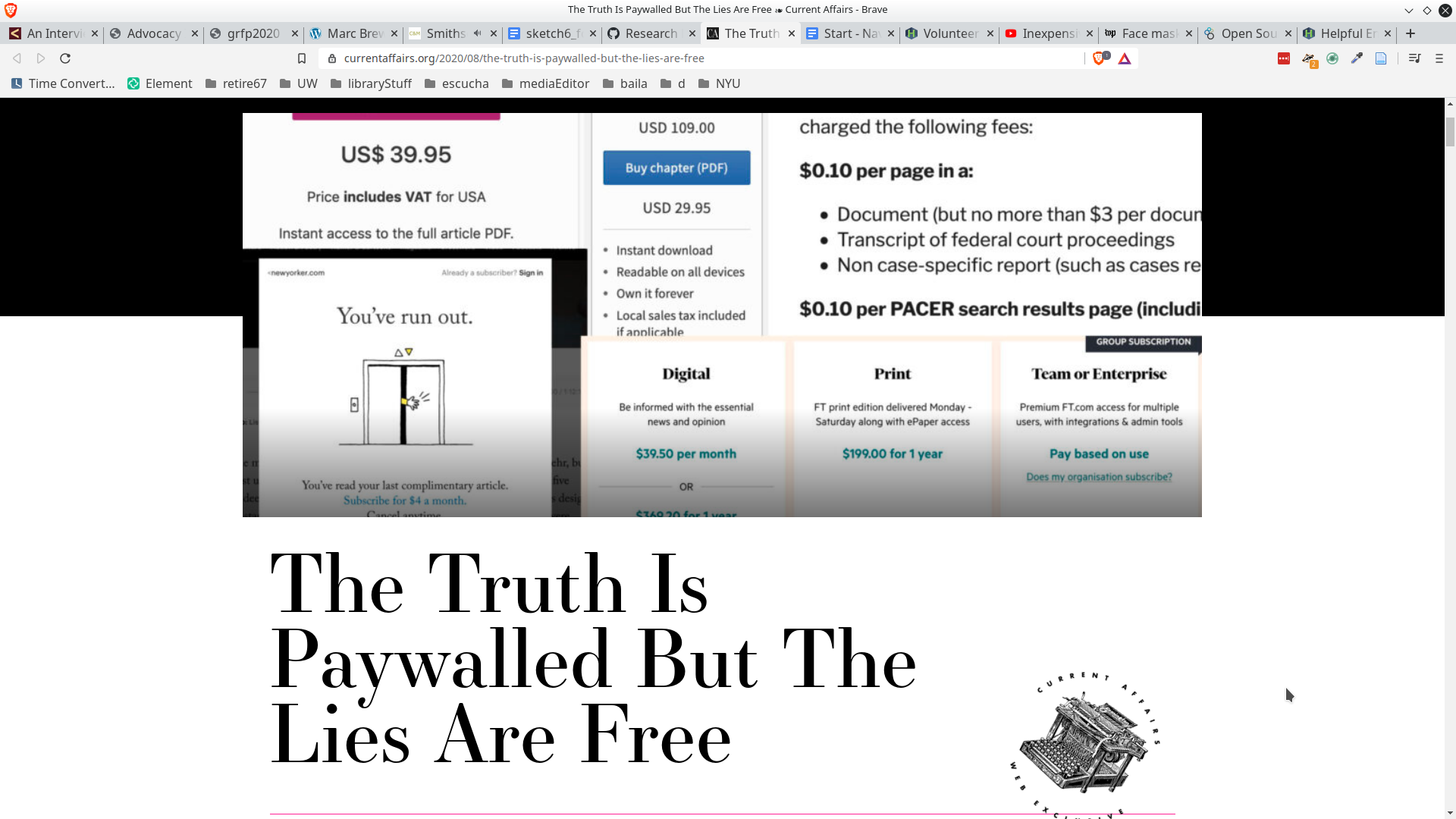 screenshot of news article Truth is Paywalled But the Lies Are Free