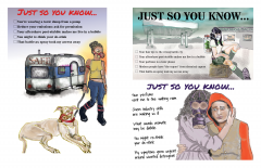 A set of illustrations that depict individuals affected by chemical sensitivity and/or fragrance exposure