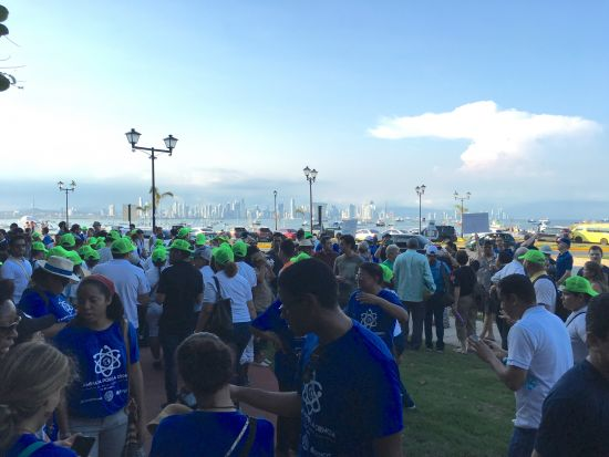 Supporters of science congregate at the very end of the Caminata por la Ciencia. Panama City's skyline is in the background.