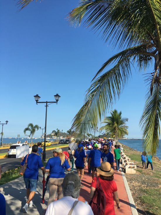 Science supporters walking together during the Caminata por la Ciencia down Amador Causeway, Panama City, Panama.