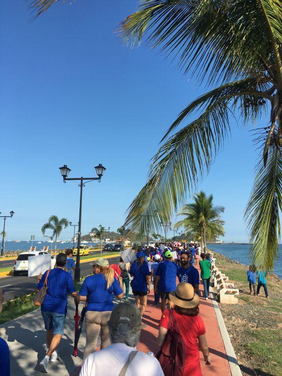 Science supporters walking together during the Caminata por la Ciencia down Amador Causeway, Panama City, Panama.