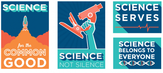 Official March for Science Poster: Science Not Silence