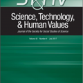 Academic Journal: Science, Technology, & Human Values - green, black, and white cover.