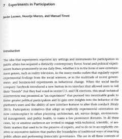 """This is the first page of the chapter, """"Experiments in Participation,"""" published in The Handbook of Science and Technology Studies, 2017"""